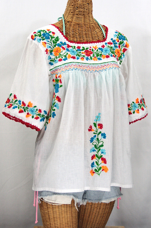 La Marina Embroidered Mexican Blouse White Fiesta Embroidery