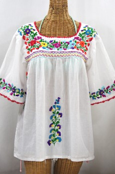 """""""La Marina"""" Embroidered Mexican Peasant Blouse - White + Rainbow Embroidery"""