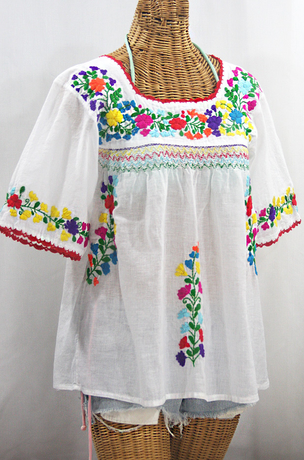 """La Marina"" Embroidered Mexican Peasant Blouse - White + Rainbow Embroidery"