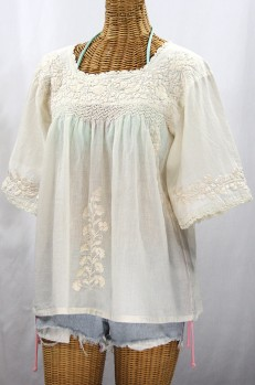 """""""La Marina"""" Embroidered Mexican Peasant Blouse - All Off White"""