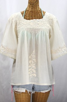 """La Marina"" Embroidered Mexican Peasant Blouse - All Off White"