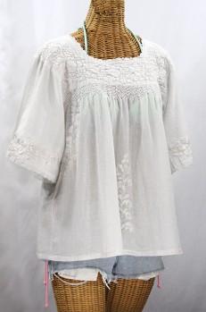 """La Marina"" Embroidered Mexican Peasant Blouse - All White"