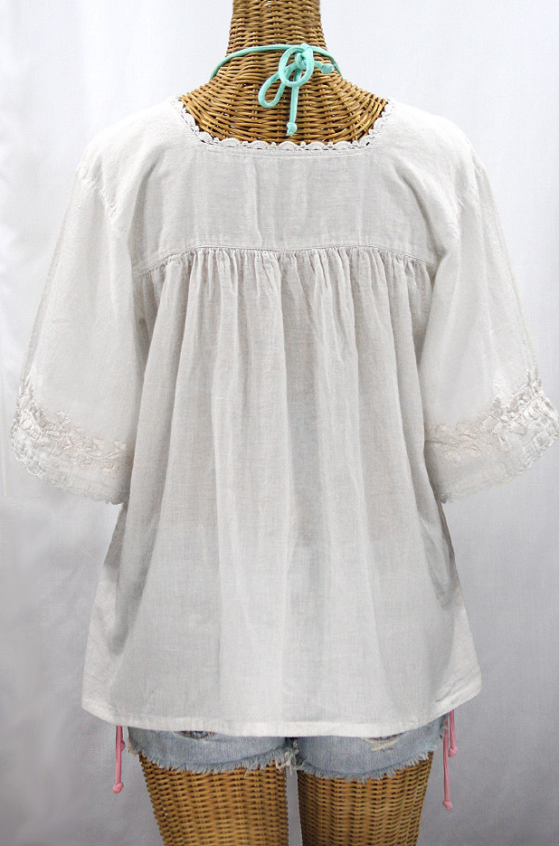 """La Marina"" Embroidered Mexican Peasant Blouse - All White"