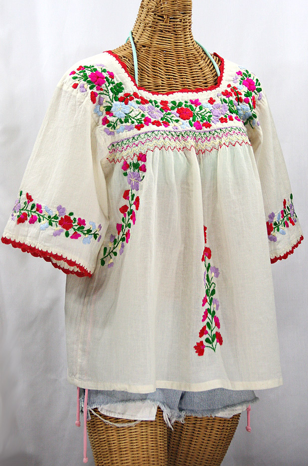 """La Marina"" Embroidered Mexican Peasant Blouse -Off White + Bright Multi"