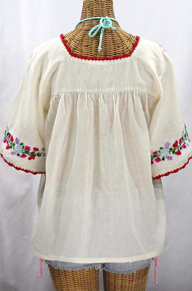 """""""La Marina"""" Embroidered Mexican Peasant Blouse -Off White + Bright Multi"""