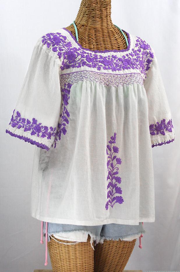 """""""La Marina"""" Embroidered Mexican Blouse -White + Purple"""