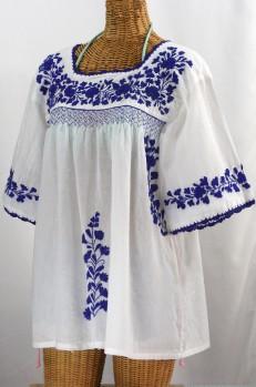 """La Marina"" Embroidered Mexican Blouse -White + Blue"