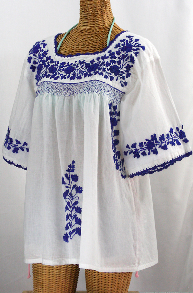 """La Marina"" Embroidered Mexican Blouse -White + Blue"