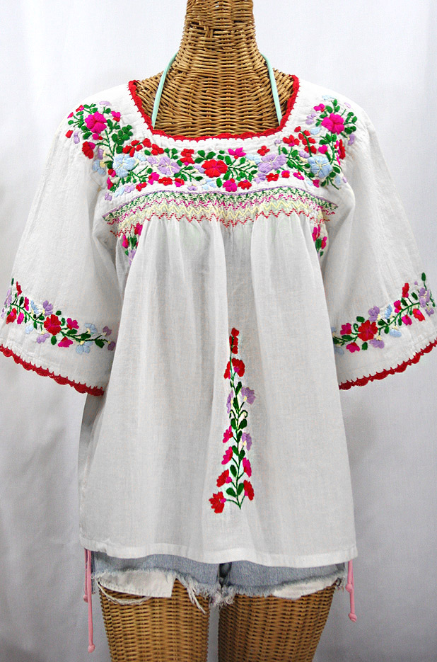 """""""La Marina"""" Embroidered Mexican Peasant Blouse -White + Bright Multi"""