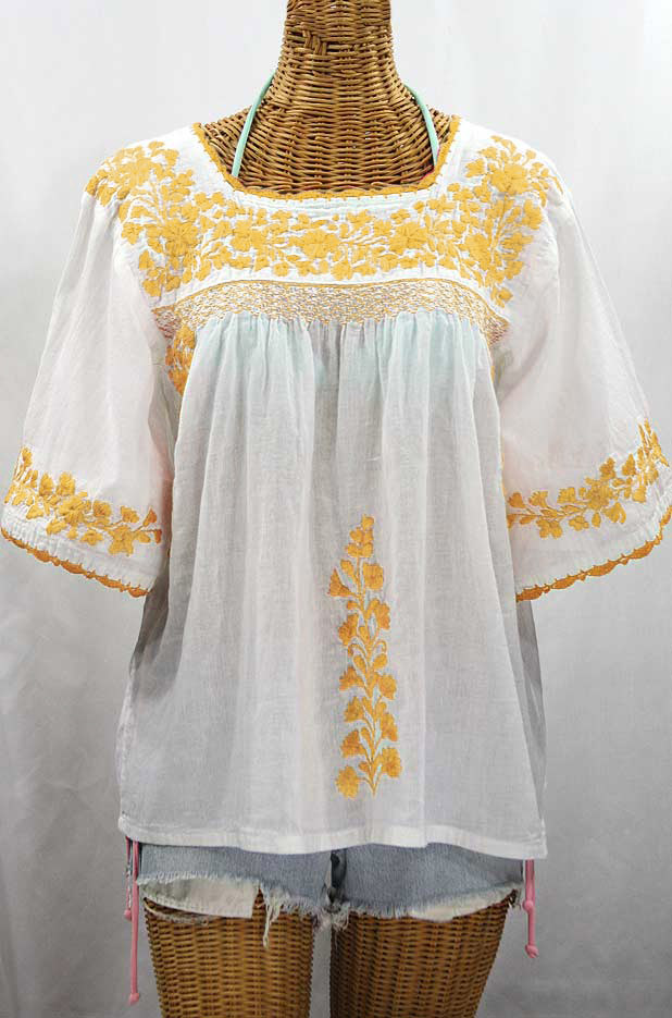"""La Marina"" Embroidered Mexican Peasant Blouse - White + Goldenrod Embroidery"