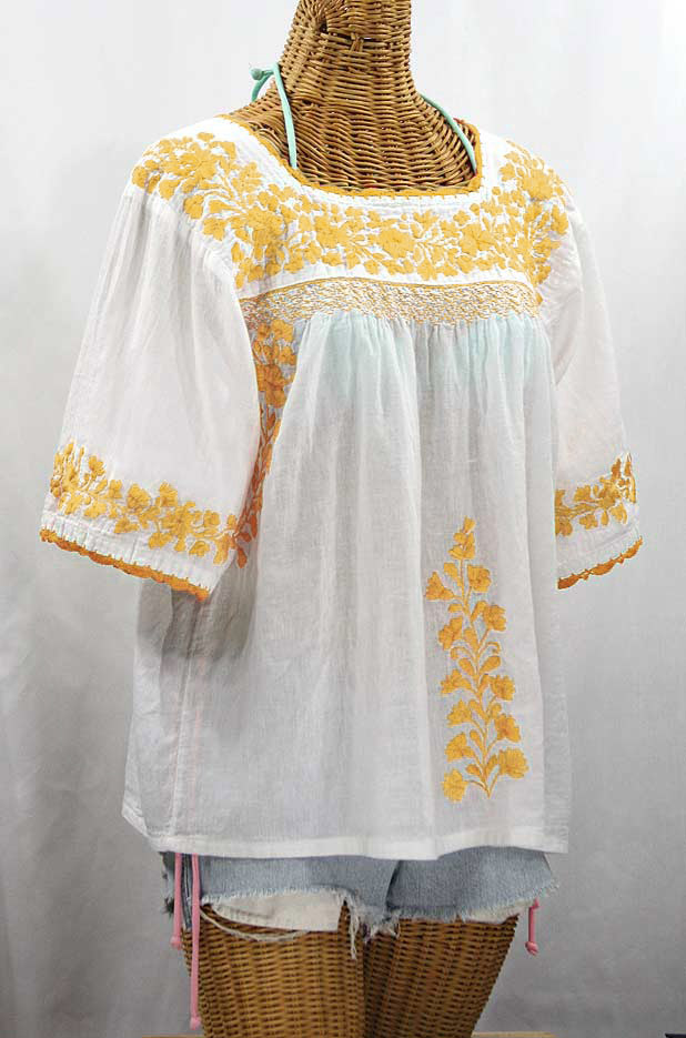 """""""La Marina"""" Embroidered Mexican Peasant Blouse - White + Goldenrod Embroidery"""