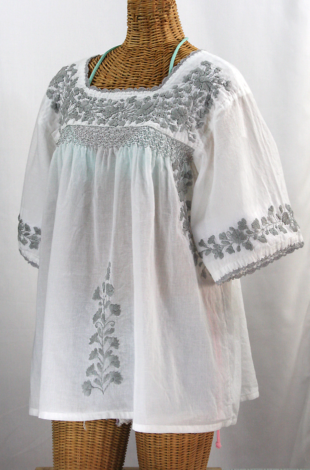 """La Marina"" Embroidered Mexican Blouse -White + Grey"
