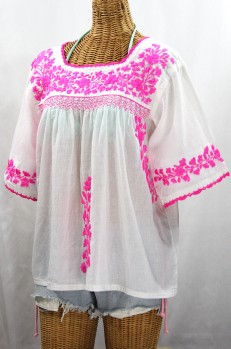 """La Marina"" Embroidered Mexican Peasant Blouse - White + Neon Pink"
