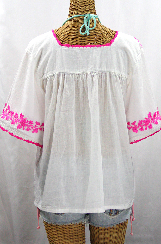"""""""La Marina"""" Embroidered Mexican Peasant Blouse - White + Neon Pink"""