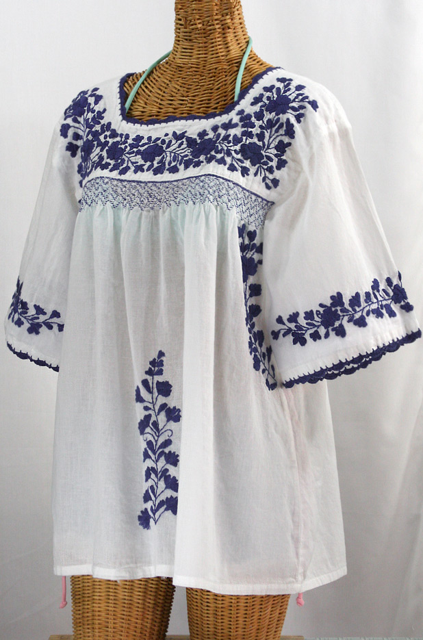 """""""La Marina"""" Embroidered Mexican Blouse -White + Navy"""