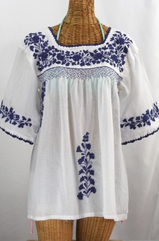 """La Marina"" Embroidered Mexican Blouse -White + Navy"