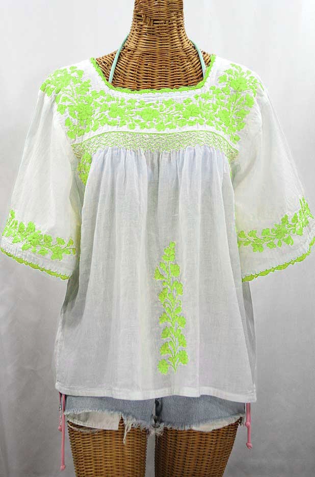 """55% Off Final Sale """"La Marina"""" Embroidered Mexican Peasant Blouse - White + Neon Green Embroidery"""