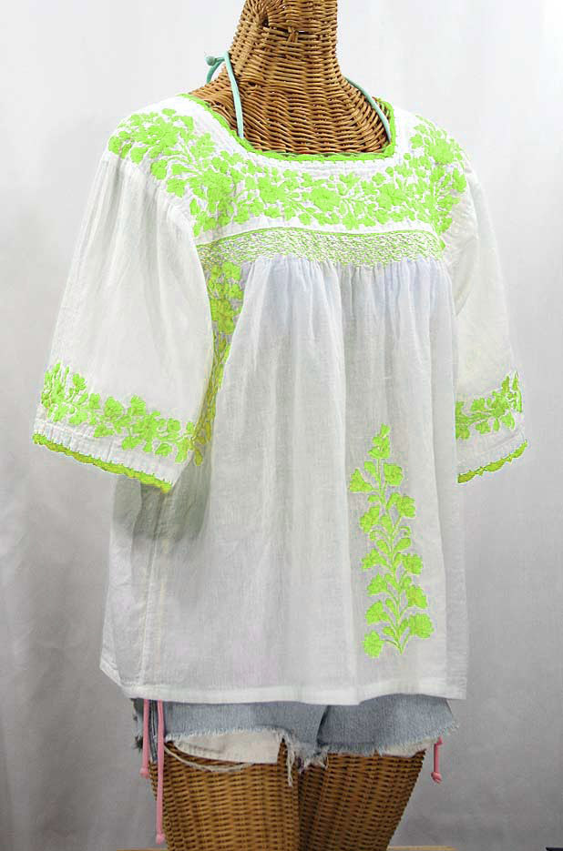 """La Marina"" Embroidered Mexican Peasant Blouse - White + Neon Green Embroidery"