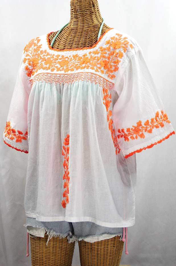 """""""La Marina"""" Embroidered Mexican Peasant Blouse - White + Neon Orange"""