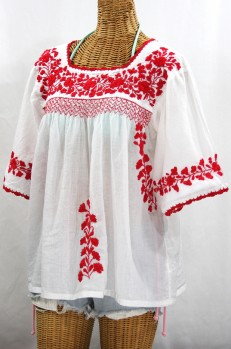 """""""La Marina"""" Embroidered Mexican Peasant Blouse -White + Red Embroidery"""