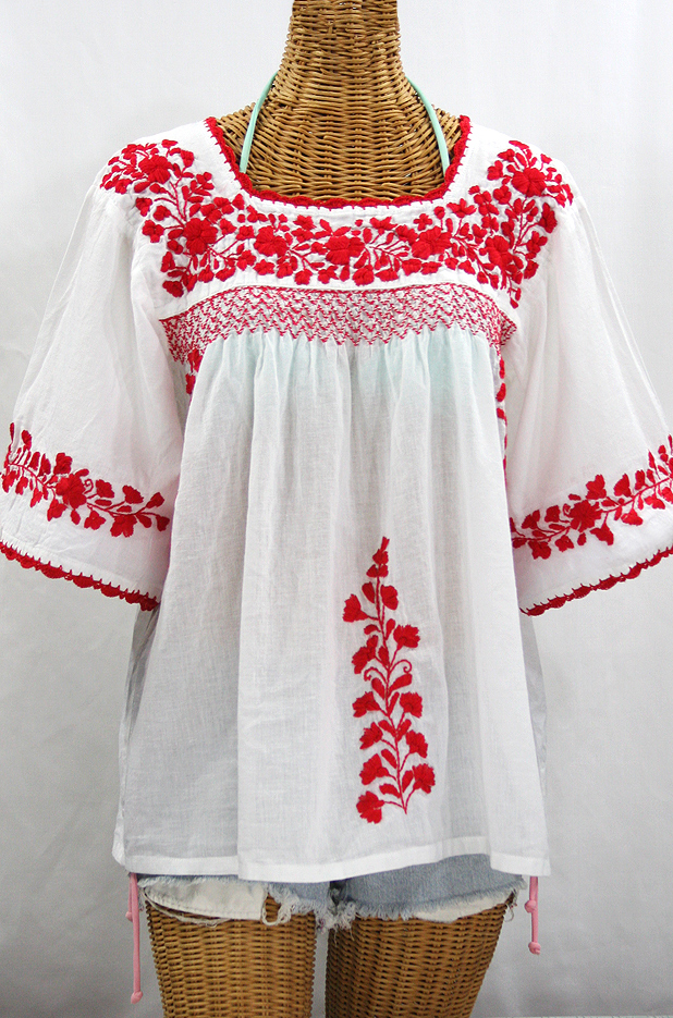 """La Marina"" Embroidered Mexican Peasant Blouse -White + Red Embroidery"