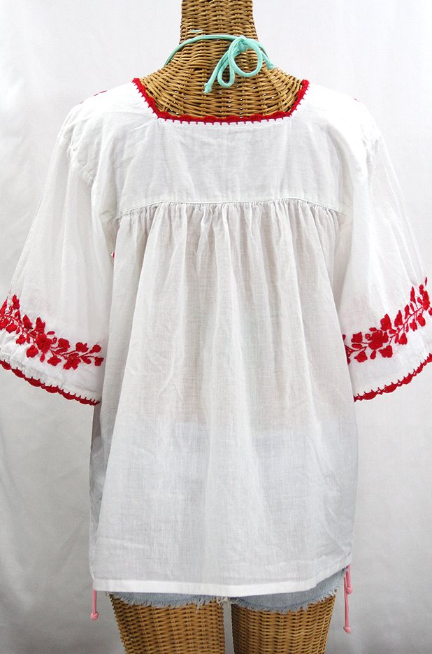 White Peasant Blouse Red Embroidery 83
