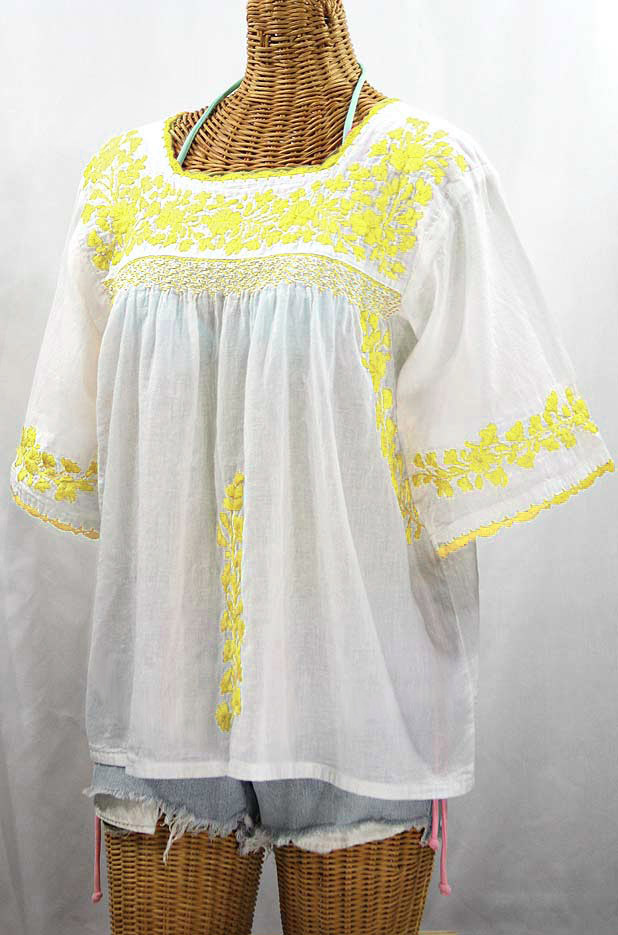 """50% Off Final Sale """"La Marina"""" Embroidered Mexican Peasant Blouse - White + Yellow Embroidery"""