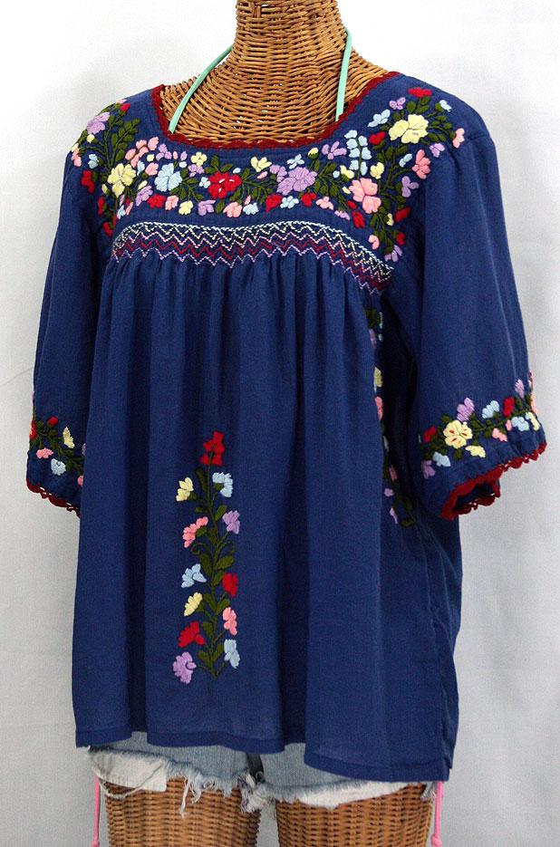 """La Marina"" Mexican Embroidered Peasant Blouse - Denim"