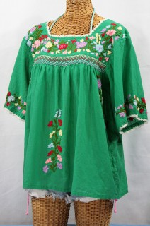 """La Marina"" Embroidered Mexican Peasant Blouse -Green"