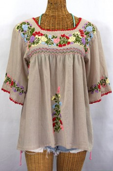 """""""La Marina"""" Embroidered Mexican Peasant Blouse -Greige"""