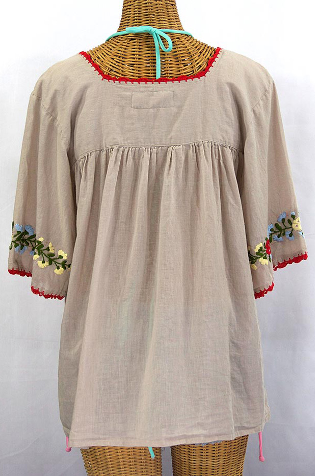 """La Marina"" Embroidered Mexican Peasant Blouse -Greige"
