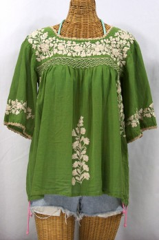 """""""La Marina"""" Embroidered Mexican Style Peasant Top -Fern Green"""