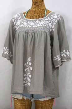 """""""La Marina"""" Embroidered Mexican Style Peasant Top -Grey + White"""