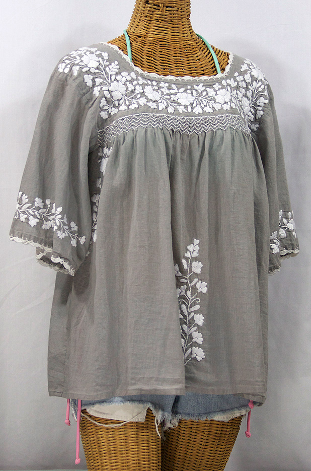 """La Marina"" Embroidered Mexican Style Peasant Top -Grey + White"