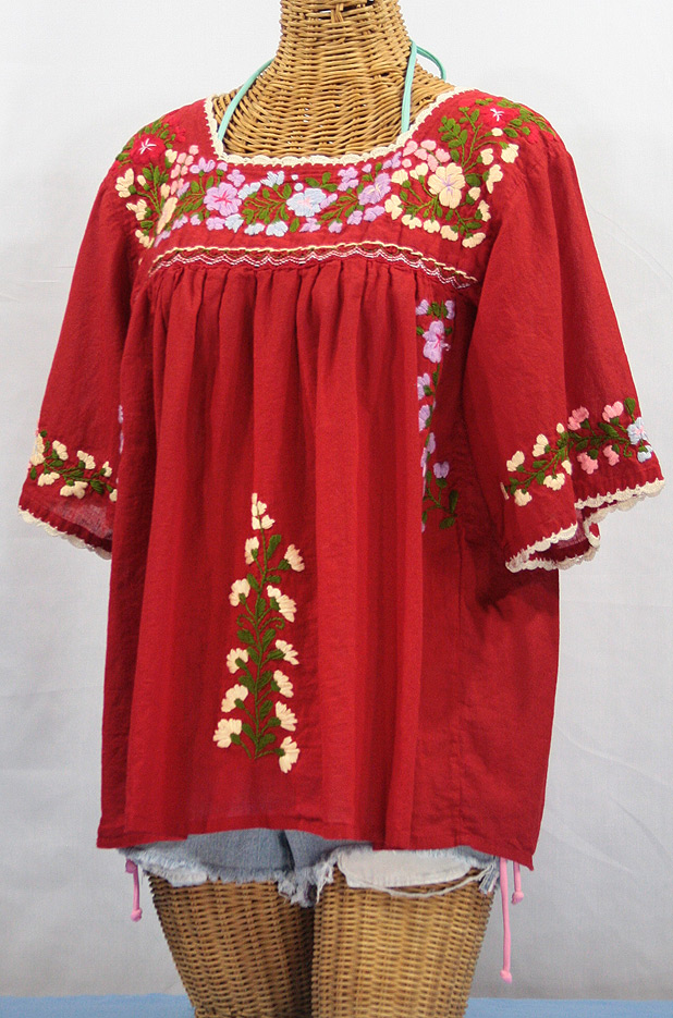 Quot La Marina Quot Embroidered Mexican Style Peasant Blouse Red