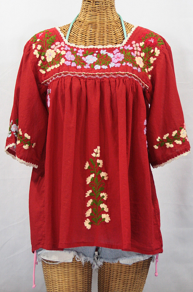 """""""La Marina"""" Embroidered Mexican Style Peasant Blouse -Red"""