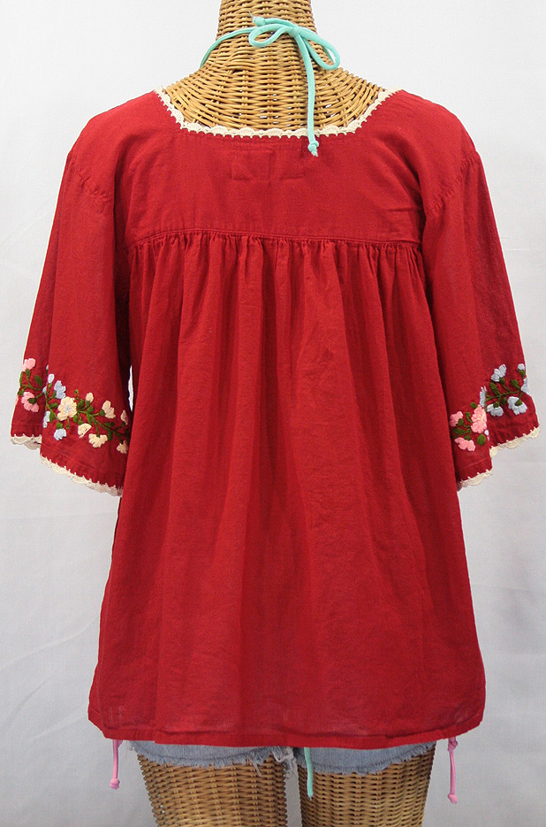 """La Marina"" Embroidered Mexican Style Peasant Blouse -Red"