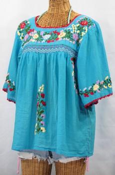 """""""La Marina"""" Mexican Embroidered Peasant Top -Aqua"""