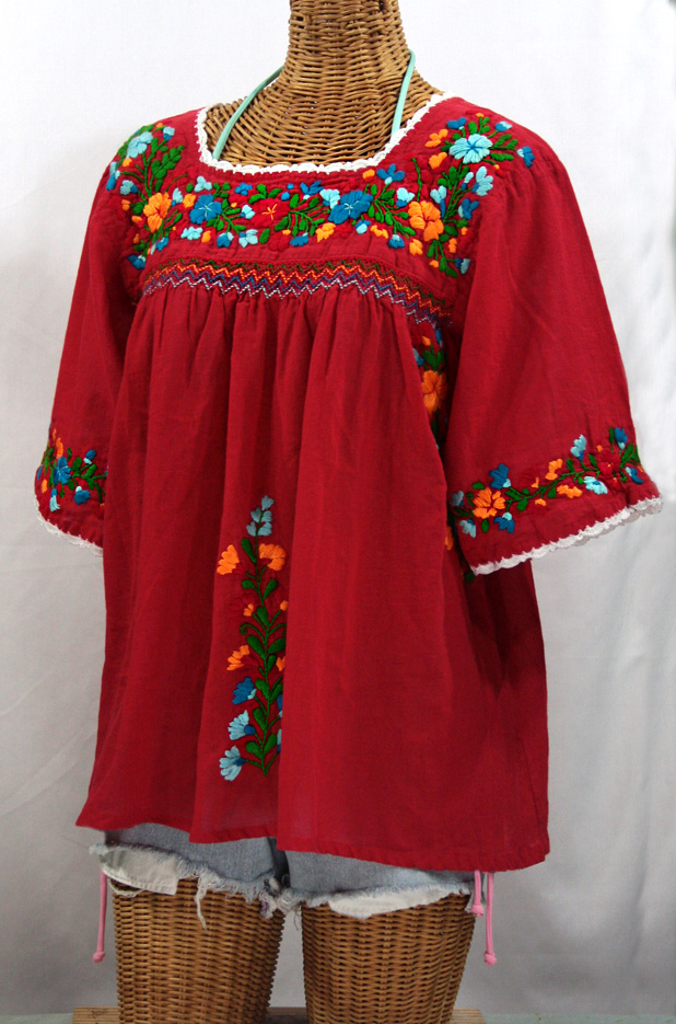 """La Marina"" Embroidered Mexican Peasant Blouse -Red + Fiesta Embroidery"