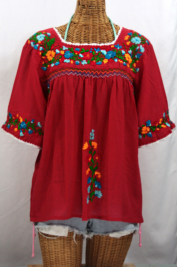 """""""La Marina"""" Embroidered Mexican Peasant Blouse -Red + Fiesta Embroidery"""