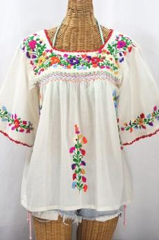 """La Marina"" Embroidered Mexican Peasant Blouse -Off White + Jewel Multi"