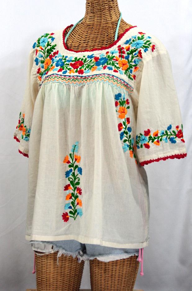 La Marina Embroidered Mexican Blouse Off White Fiesta