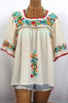 """La Marina"" Embroidered Mexican Blouse - Off White + Fiesta"