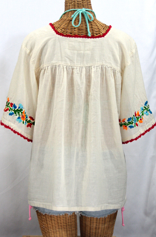 """La Marina"" Embroidered Mexican Blouse - Off White + Fiesta"
