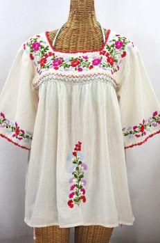 """""""La Marina"""" Embroidered Mexican Peasant Blouse -Off White + Multi"""
