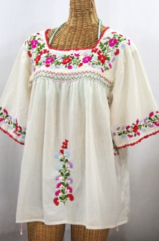 """La Marina"" Embroidered Mexican Peasant Blouse -Off White + Multi"