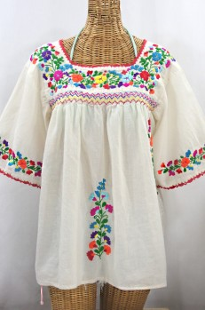 """""""La Marina"""" Embroidered Mexican Peasant Blouse -Off White + Rainbow"""
