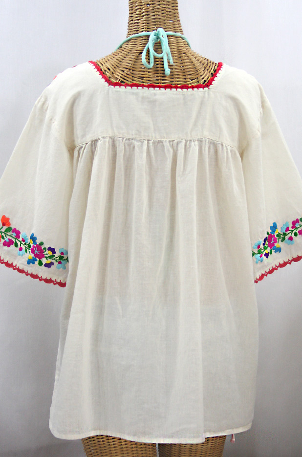 """La Marina"" Embroidered Mexican Peasant Blouse -Off White + Rainbow"
