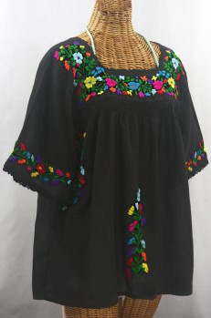"""La Marina"" Embroidered Mexican Peasant Blouse - Black + Rainbow"