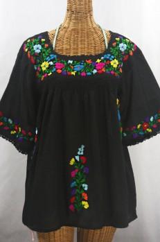 """La Marina"" Embroidered Mexican Peasant Blouse - Black + Rainbow"